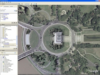 С помощью программы Google Earth (Google Планета Земля)